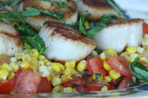 Seared Scallops with Spiced Corn & Tomato Succotash - Feed ...