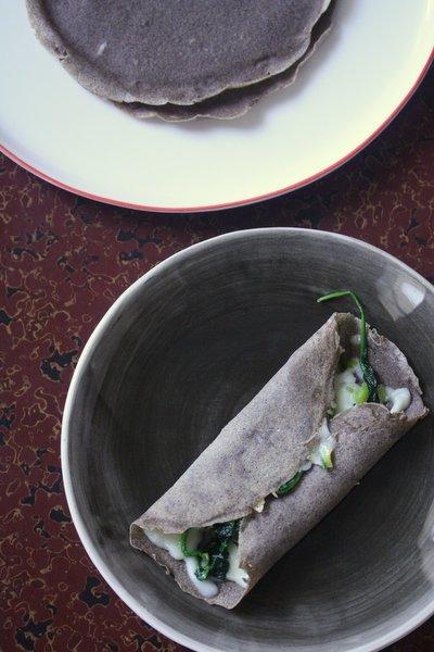 Buckwheat Crepes with Greens and Gruyere - Feed Me Phoebe