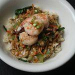 The Balanced Diet: Shrimp Stir Fry with Brown Rice, Bok Choy, and Peanut Sauce