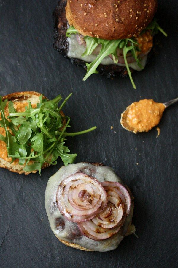 Grilled Portobello Mushroom Burger Recipe with Romesco, Manchego Cheese, and Arugula | Easy Vegetarian Main