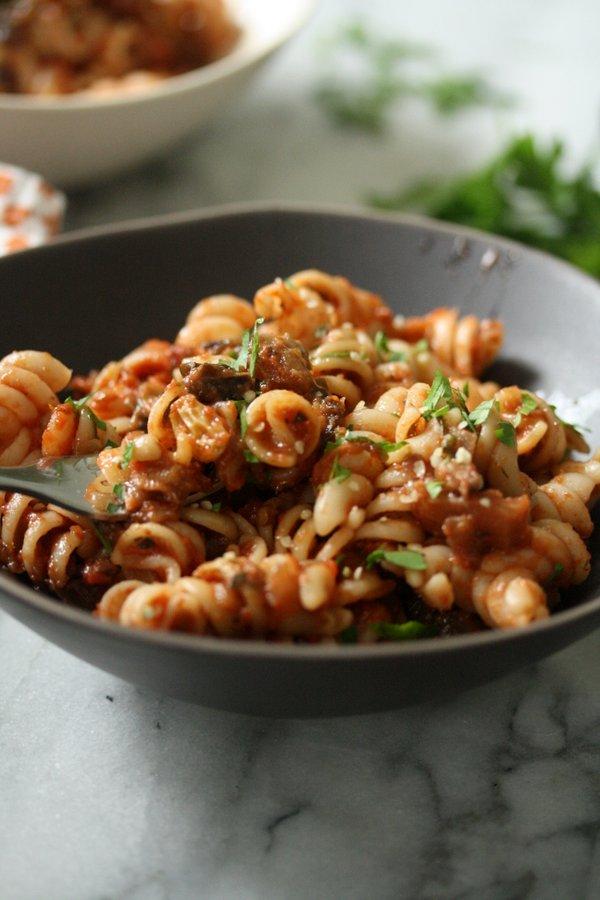 Moroccan Eggplant Recipe| Spiced Caponata Pasta Salad | Easy Summer Recipe