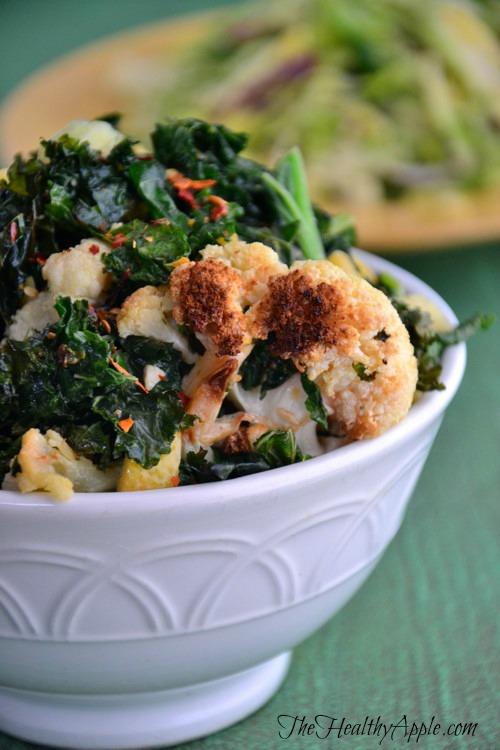 Paleo Cauliflower Kale Salad Bowl | Detox Recipe | The Healthy Apple | Amie Valpone