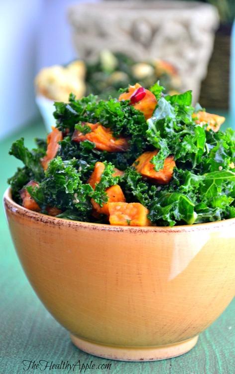 Detox Kale Salad with Pomegranate | Detox Recipe | The Healthy Apple | Amie Valpone