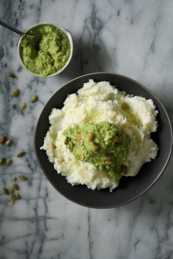 Paleo cauliflower mashed potatoes recipe with pumpkin seed scallion pesto   healthy, dairy-free and vegan!