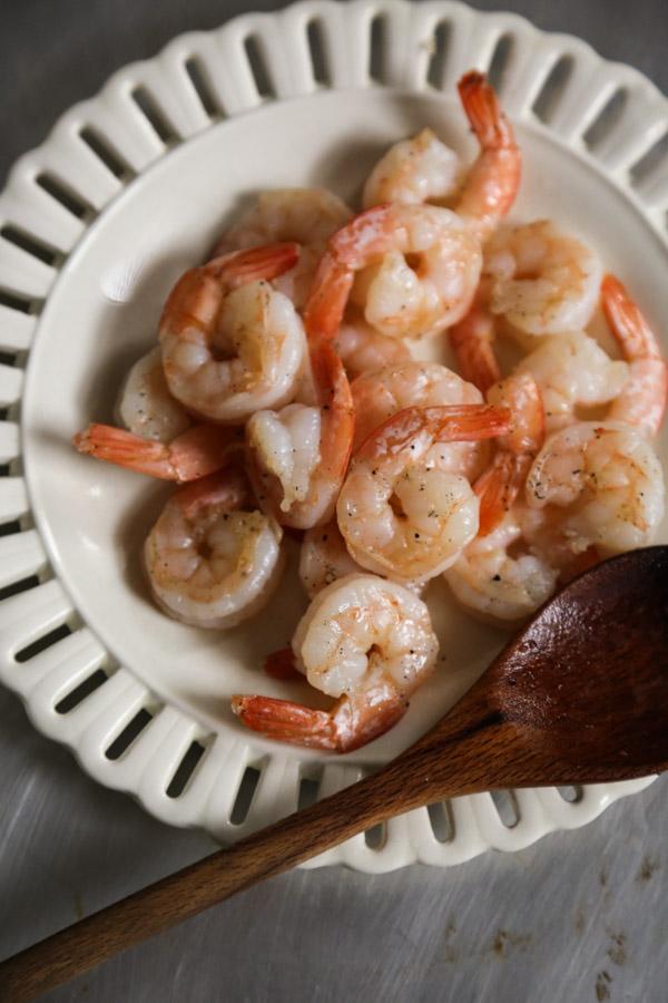 Stir-Fried Shrimp ready for my Thai Pumpkin Red Curry Recipe