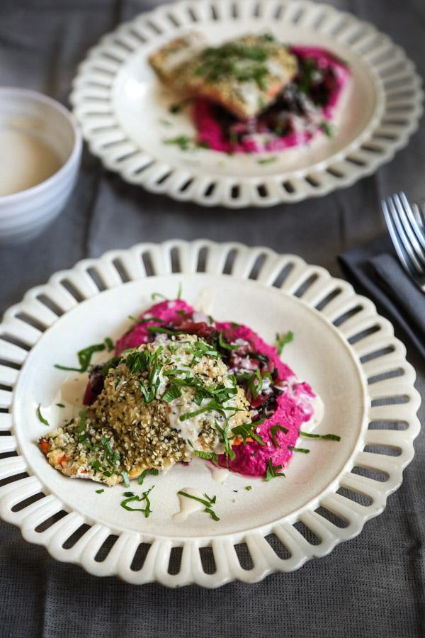 Hemp Crusted Salmon with Beet Hummus, Greens, and Lemon-Tahini Sauce | Healthy Fish Recipes