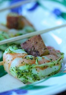 Shrimp Lollipops with Basil Pesto