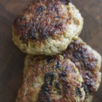 Homemade Chicken Sausage Patties with Olives and Oregano