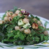 The Balanced Diet: Israeli Chickpea Salad with Mustard Greens