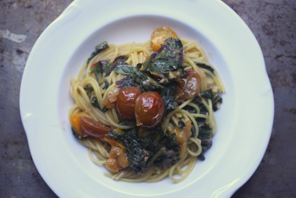 Spaghetti with Beet Greens and Blistered Tomatoes - Feed Me Phoebe