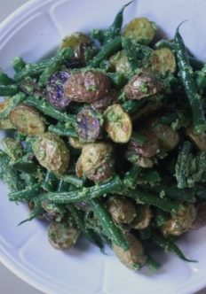 Roasted Potato and Green Bean Salad with Almond-Chive Pesto