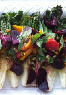 Romaine with Beets, Pistachios, and Roasted Garlic Vinaigrette