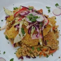 Chef Race: Cornmeal-Crusted Catfish with Tomato-Zucchini Rice and Radish Slaw