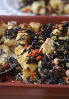 Cornbread and Wild Rice Stuffing with Hazelnuts and Cranberries