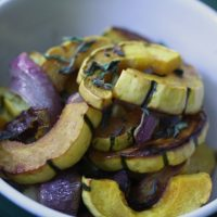 Vegetable Salad Recipe with Warm Delicata Squash, Balsamic and Oregano