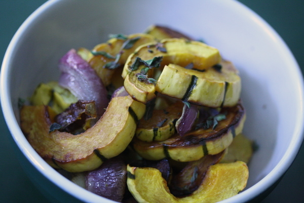 Vegetable Salad Recipe with Warm Delicata Squash, Balsamic and Oregano | Vegan, Vegetarian, Gluten-free, Healthy Simple Side Dish