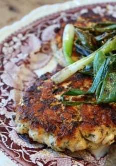 Ginger Salmon Burgers with Grilled Scallions