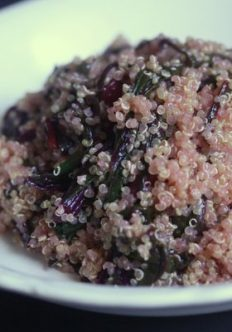 Quinoa with Pink Greens