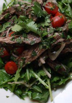 Spicy Thai Beef Salad with Mizuna