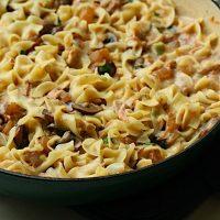 Upscale Tuna Noodle Casserole with Cremini Mushrooms and Scallions