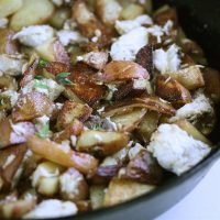 Potato Hash in a Cast Iron Skillet with Bluefish