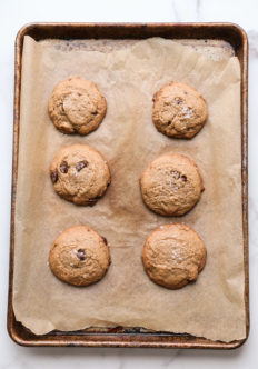 flourless peanut butter cookie recipe on a sheet pan