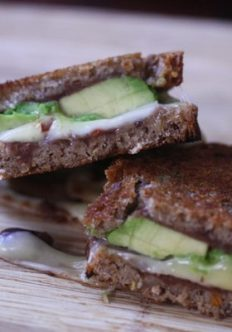 Mexi Grilled Cheese with Avocado, Pepper Jack, and Refried Beans