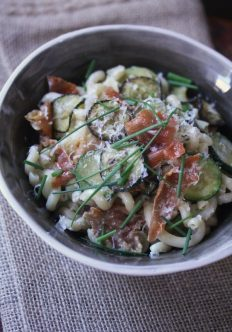 Pasta Carbonara with Zucchini and Crispy Prosciutto