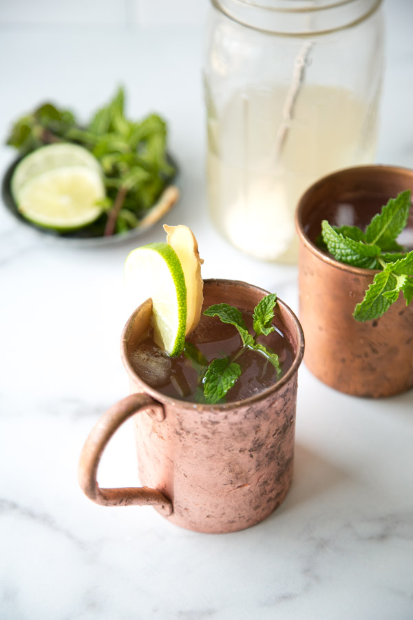 moscow mule glasses with mint