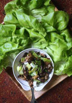 Vietnamese Eggplant and Leek Lettuce Wraps