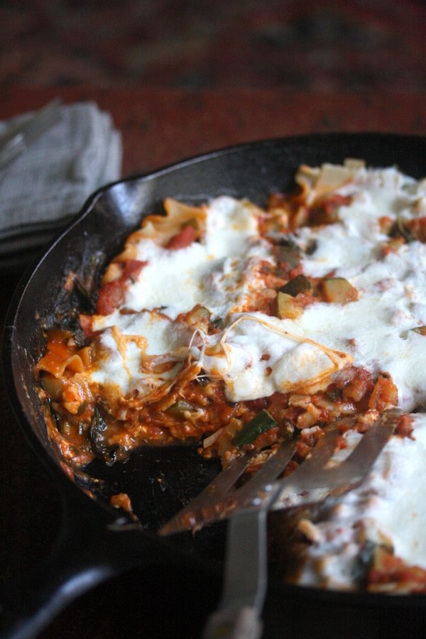 Gluten-Free Skillet Lasagna with Zucchini, Arugula and Fontina Cheese