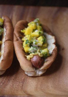 Bombay Hot Dogs with Mango Relish and Curried Mayo
