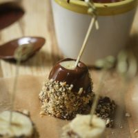 Frozen Chocolate Covered Bananas with Peanuts