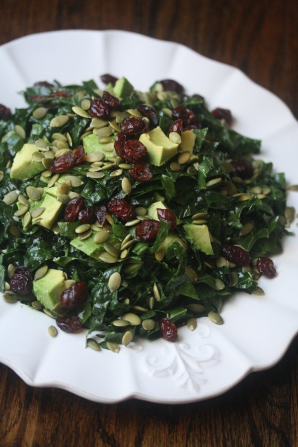 Raw Tuscan Kale Salad Recipe with Avocado and Lemon Dressing | Healthy