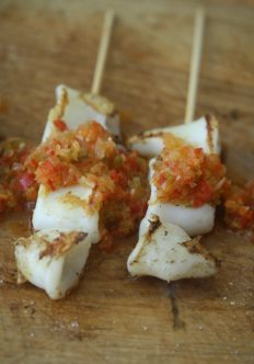 Spanish-Style Shrimp Skewers with Squid and Red Pepper Sofrito