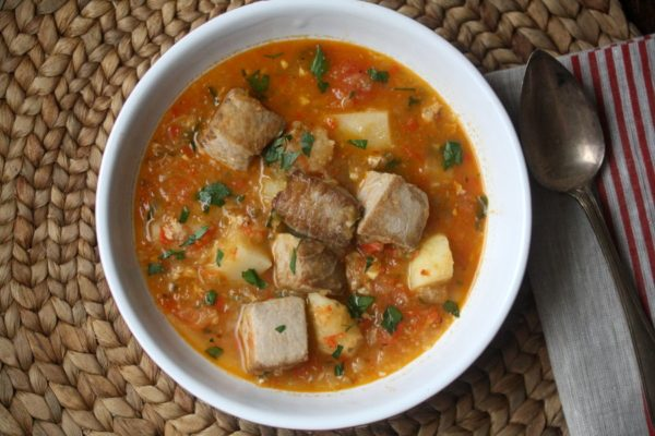 Marmitako is a classic basque meal. This Basque Tuna Stew Recipe uses Potatoes and Peppers