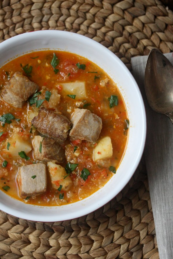 Marmitako Recipe - Basque Tuna Stew with Potatoes and Peppers. This tuna fish stew is a classic and traditional Basque meal