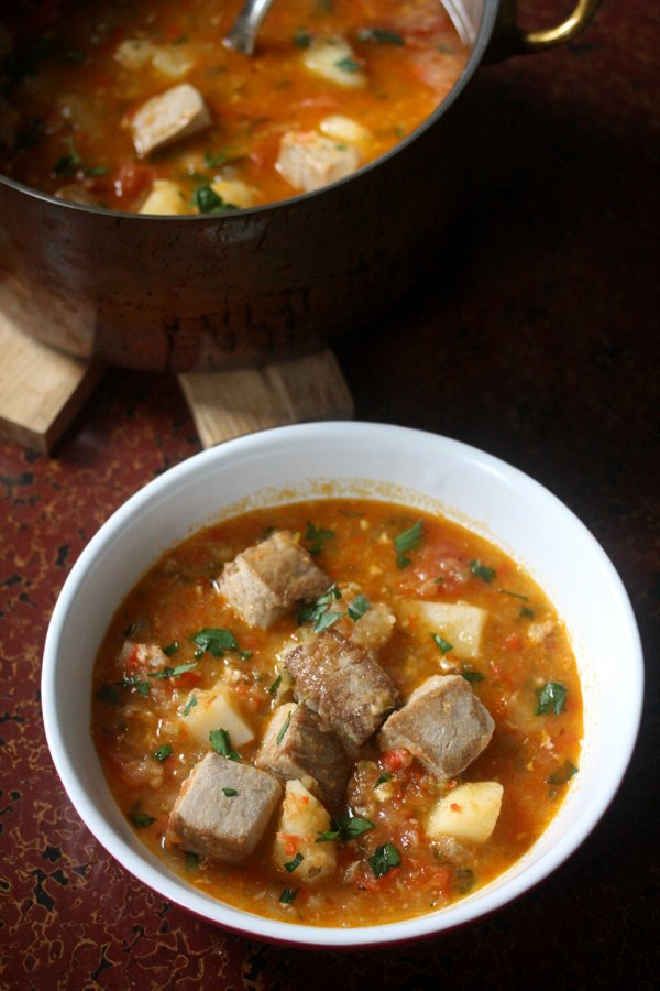 This Basque Marmitako recipe uses tuna fish for stew as well as potatoes and peppers