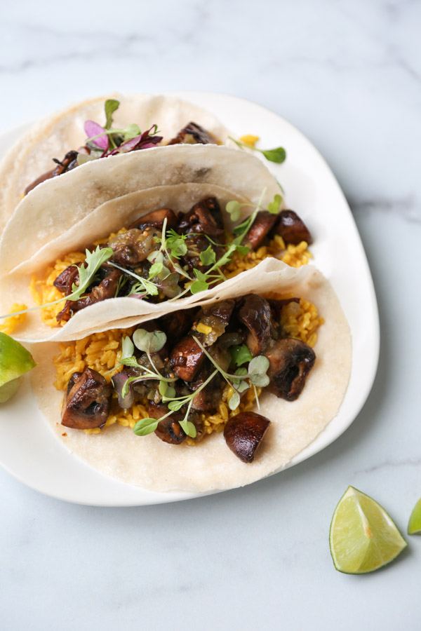 Mexican Mushroom Tacos With Yellow Rice And Tomatillo Salsa Recipe