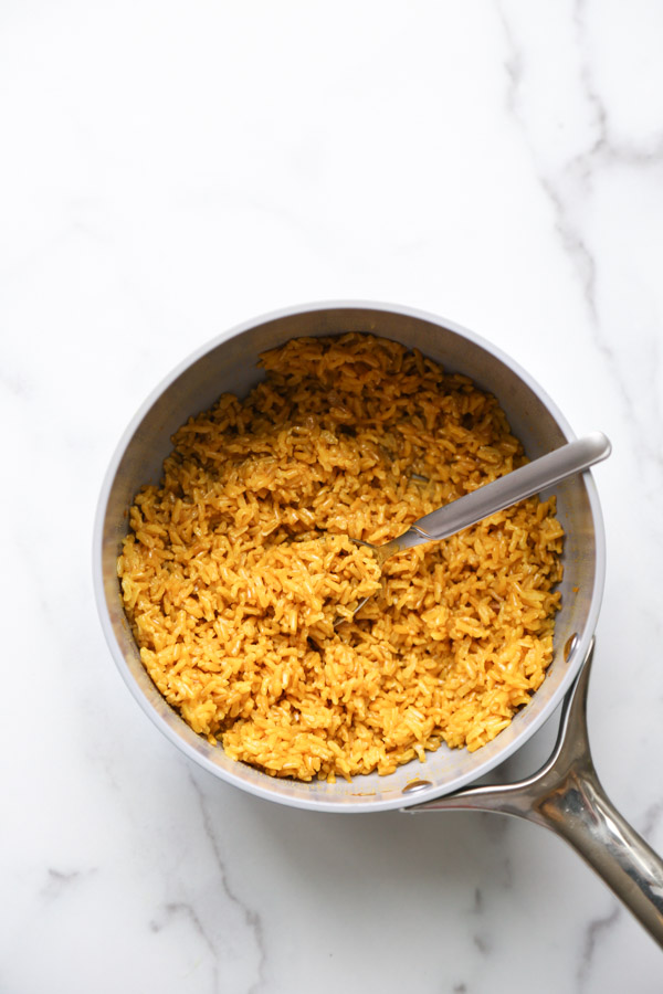 yellow rice pilaf in a pot