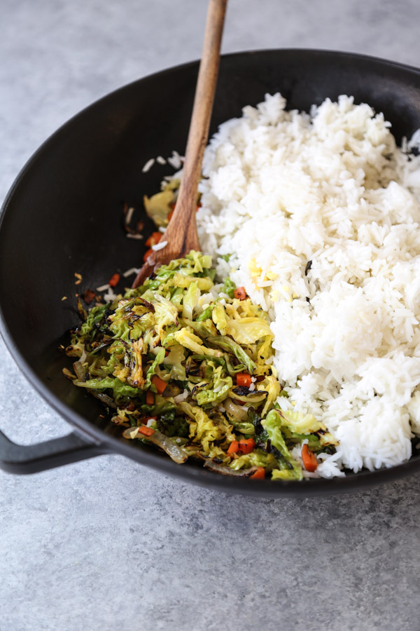 Vegetable Fried Rice in a Wok