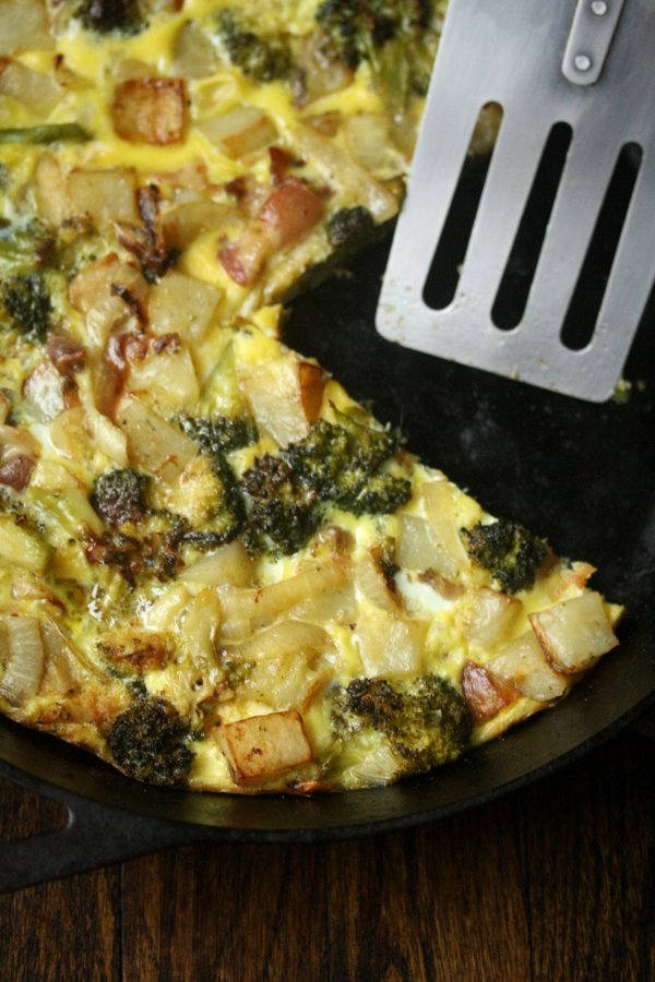 Breakfast Frittata with Potatoes, Bacon and Broccoli