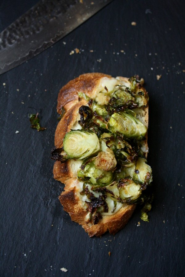 Roasted Brussels Sprout and Gruyere Toasts