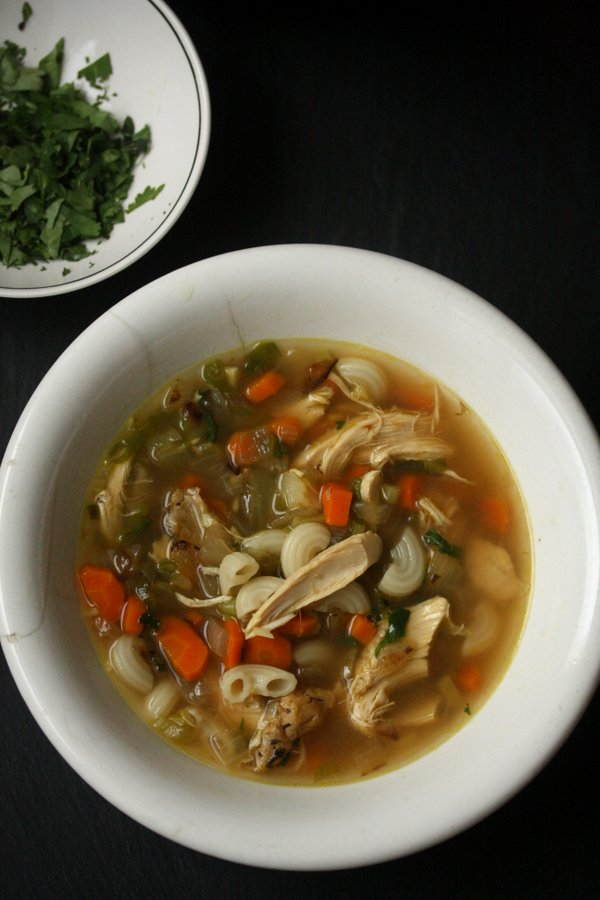 Turkey Noodle Soup with Cilantro and Ginger