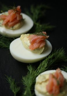 Deviled Eggs with Smoked Salmon and Dill