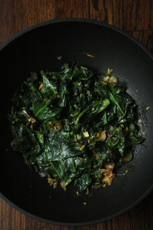 Stir-Fried Collard Greens with Ginger and Jalapeno