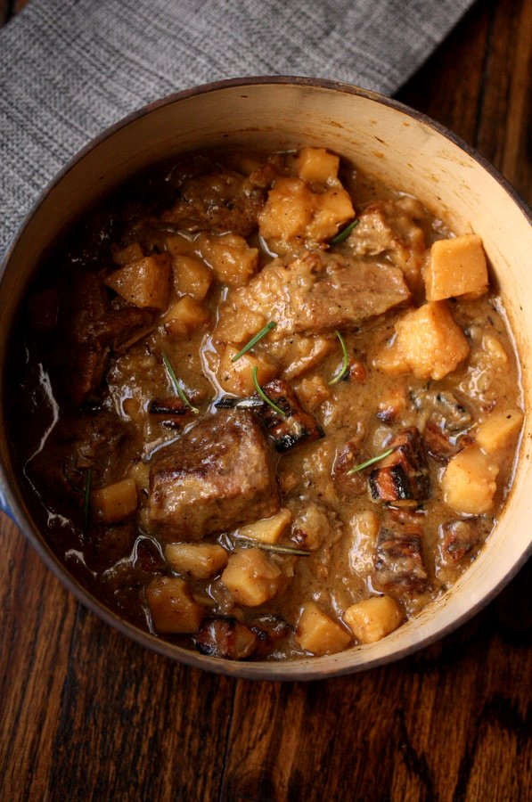 Pork Stew with Hard Cider and Parsnips