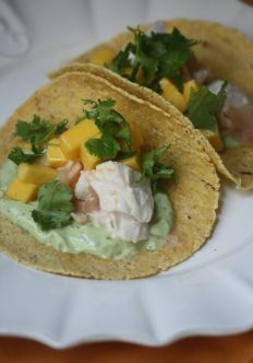 Roasted Fish Tacos with Avocado Crema and Mango