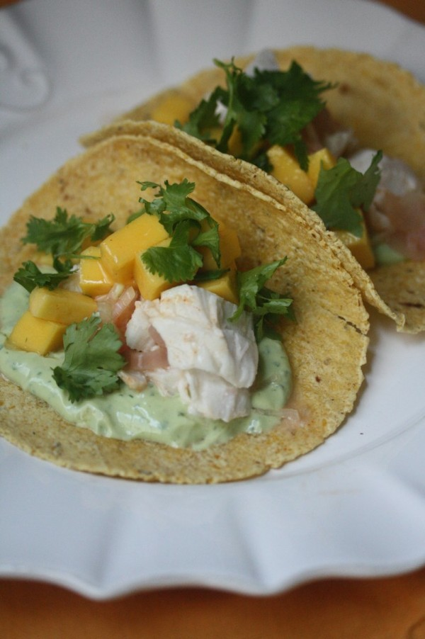 Phoebe Lapine_Baked Fish Tacos with Avocado Crema and Mango_LoRes