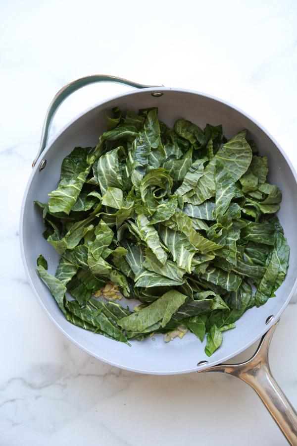 Collard greens in a pan